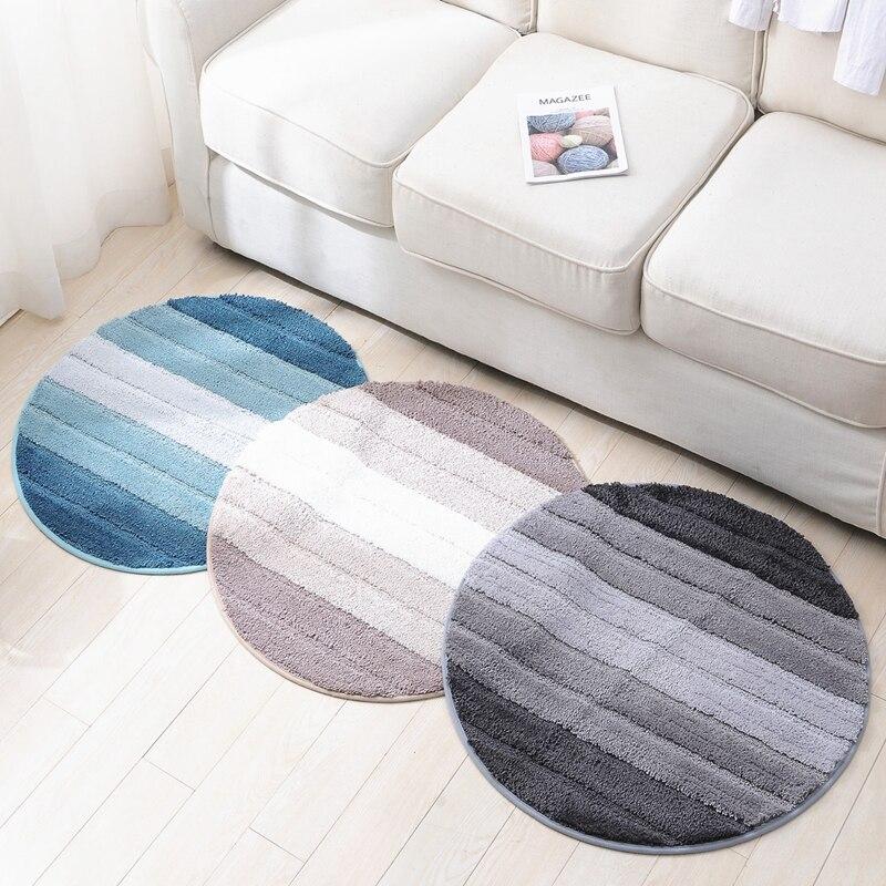 Tapis rond moelleux salle de bain tapis absorbant antidérapant salon maison tapis de sol microfibre couleur rayures tapis paillassons