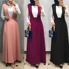 3 Colors Muslim Skirt Women Suspender Skirt Maxi Pencil Middle East Loose High Waist Sheath Long Skirt Islam Solid Color Bottom(China)