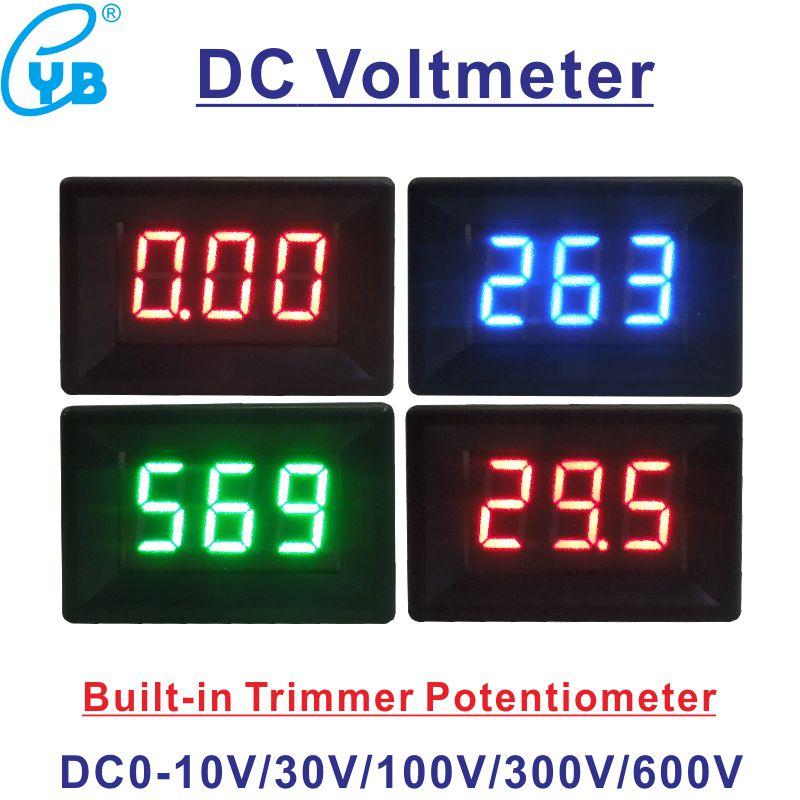 Цифровой вольтметр постоянного тока YB21, 0-10 В, 0-30 в, 0-100 в, 0-300 В, 0-600 в, мини-измеритель напряжения, 3-проводной, 0,36 дюйма, цифровой светодиодный и...