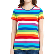 Rainbow Tee for Women Colorful Stripe T Shirt Crew Neck Tshirts Woman Short Sleeve Even Striped Top Tees crew neck contrast striped tee