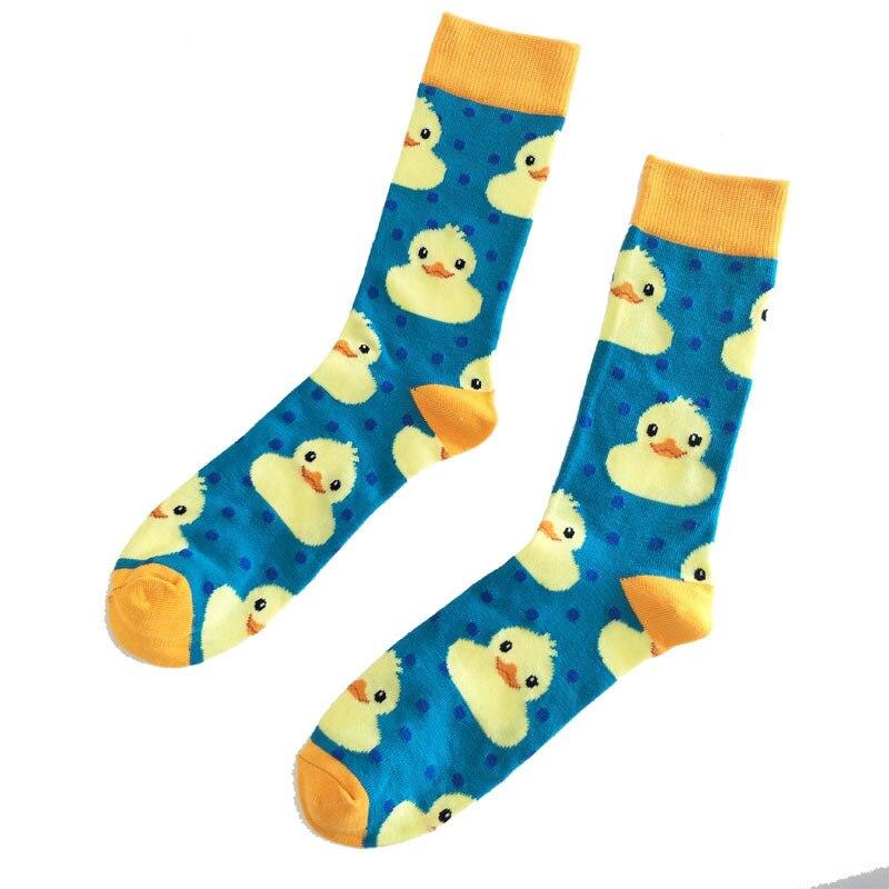 PEONFLY Cartoon Cute Animal Yellow Duck Pattern Men Short   Socks   Fashion Happy   Socks   Casual Cotton Ankle   Socks   Men Harajuku