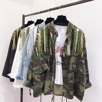 Boho Camouflage Jacket Women Sequins Shinny Lace Up Denim Coat Bomber Long Sleeve Coats