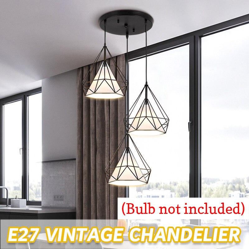 Nouveau Design nordique multilatéral diamant découpe post-moderne lumière Restaurant E27 personnalité plaqué simple/trois tête suspension lampe