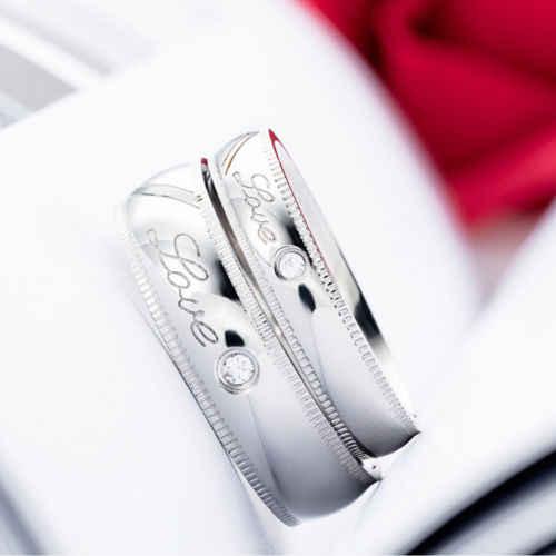 Amant bague de mariage cadeau de fiançailles amour réel Couple anneaux épissage motif coeur hommes 7-12 femmes 4-9