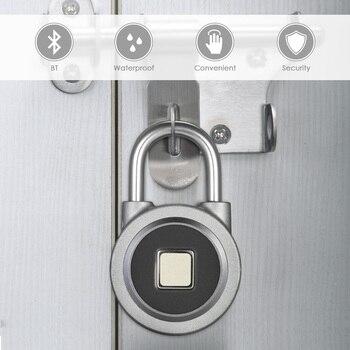 BT Fingerprint Smart Keyless Lock Waterproof APP / Fingerprint Unlock Anti-Theft Padlock Door Lock for Android iOS System