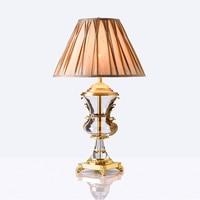 Nordic светодиодный Кристалл Настольная лампа Медь Спальня прикроватные освещение декоративный, настольный, светодиодный Li Ghts тканевая лампа