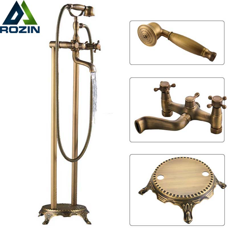 Antique Brass Floor Mounted Tub Sink Faucet Dual Handle Bathroom Bath Shower Set Freestanding Bathtub Mixer