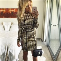 Try Everything 2018 Gold Prom Sequin Dress Women Plus Size Sexy Dress Night Club Ladies Sexy Dresses Sequins Tunic Dress Party