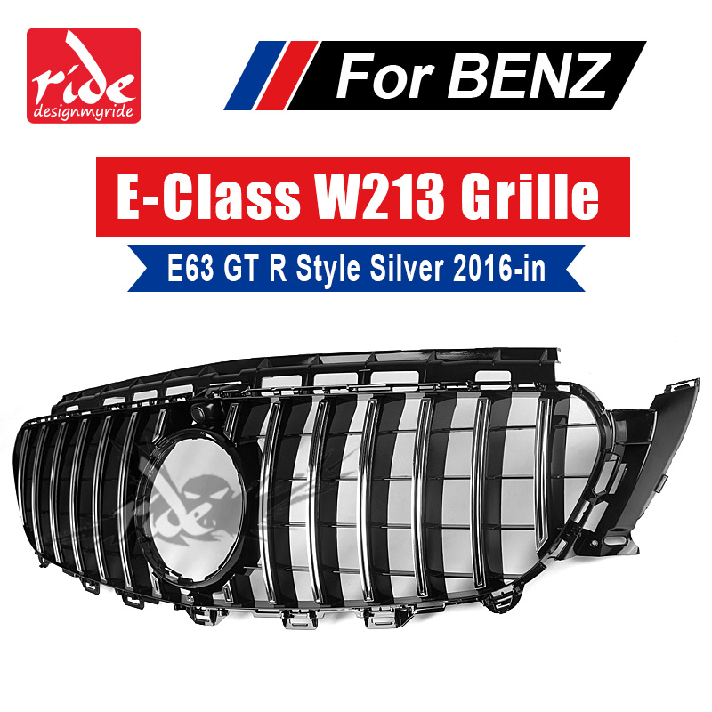 W213 GT R Style grille grille ABS Silver With Camera Fits For Mercedes Benz E class