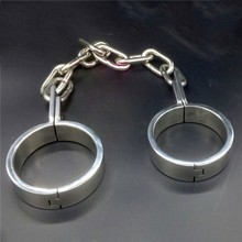 лучшая цена Newest chain shackles stainless steel leg irons bdsm bondage restraints foot ankle cuffs slave fetish sex toys for adult games
