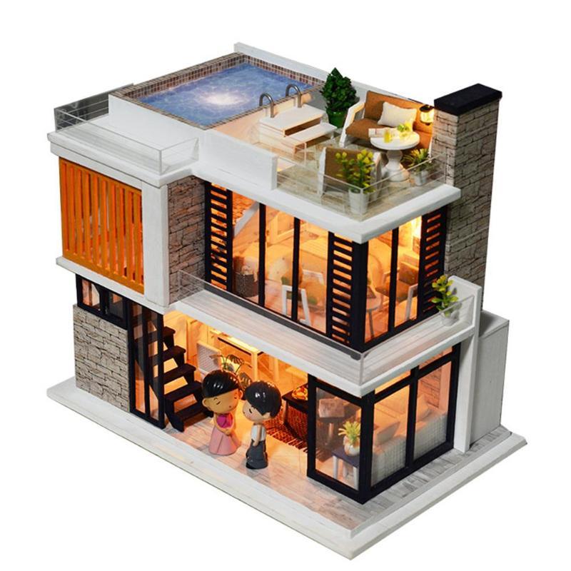 Enfants meubles en bois assembler Kit Miniature maison de poupée modèle jouets enfants à la main maison de poupée bébé artisanat bricolage cadeau d'anniversaire