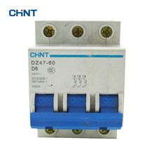 CHINT D Type Breaker Circuit 3 Pole Household Air Switch DZ47-60 3P D6 Miniature 6A