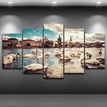 Canvas Pictures Home Decor Frame Print Bridge Scenery Picture 5 Piece Swans Lake City Building Painting For Living Room Wall Art