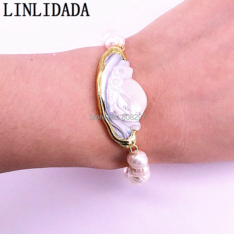 5Pcs Elegant Gold Color Natural White Shell Connector with Pearl Beads Stretch Bracelet Fashion Woman Jewelry