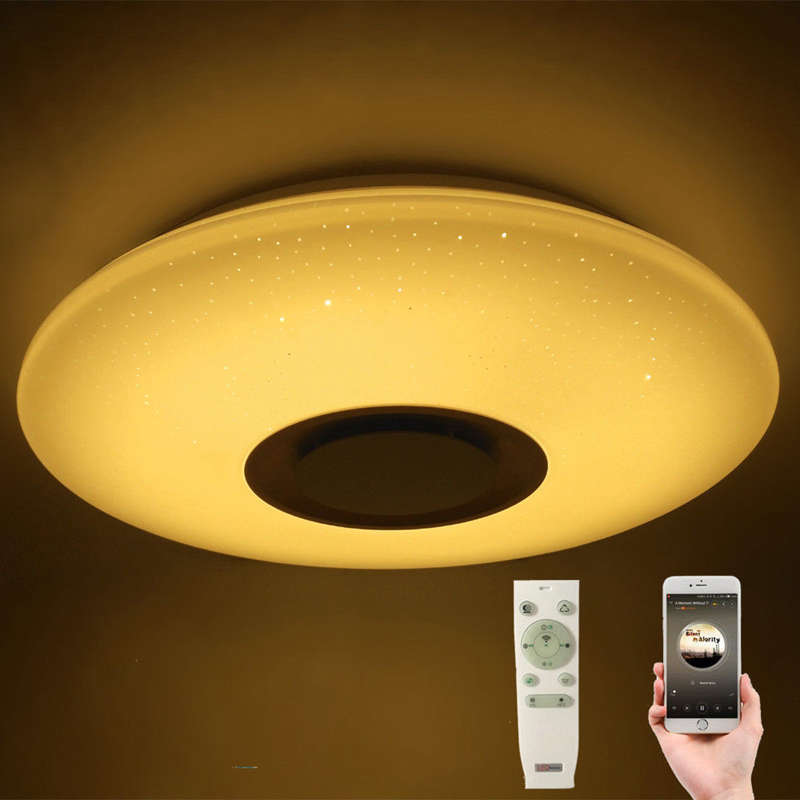 60W Rgb Flush Mount Round Starlight Music Led Ceiling Light Lamp With Bluetooth Speaker, Dimmable Color Changing Light Fixture