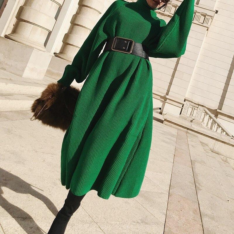 Essayer Tout Col Roulé robe pull longue Hiver Vert Tricoté robe chandail Pour Les Femmes 2019 à manches longues robe d'hiver Femelle