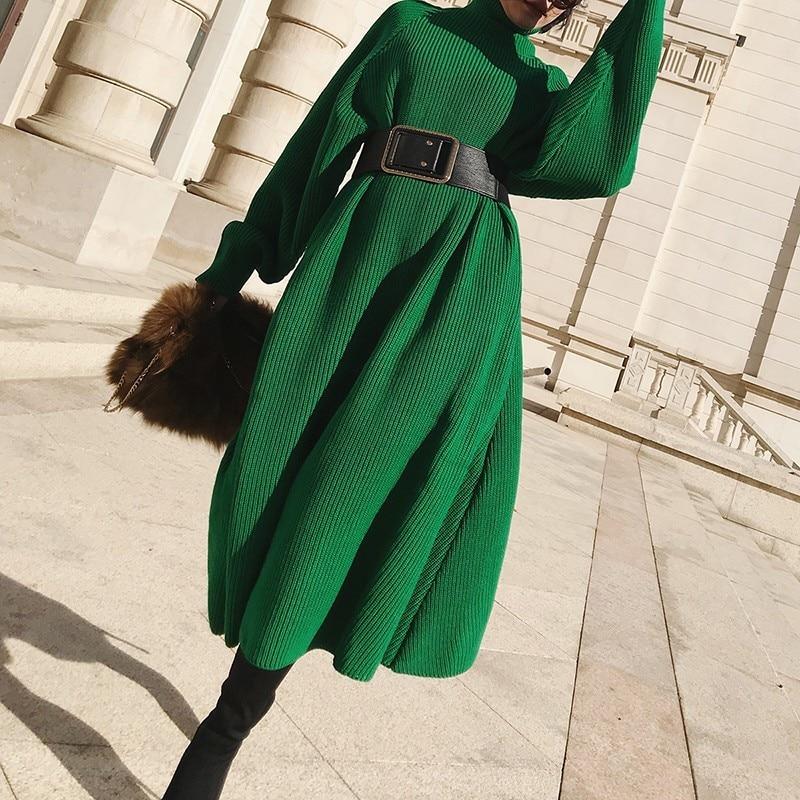 Essayez tout col roulé Long pull robe hiver vert tricoté pull robes pour femmes 2019 à manches longues hiver robe femme