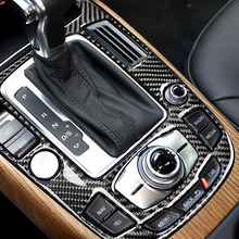 Cubierta de consola central de fibra de carbono para coche, cubierta de Panel de Cambio de marchas, A4L para Audi, A5, 2009, 2010, 2011, 2012, 2013, 2014, 2015, 2016, Q5