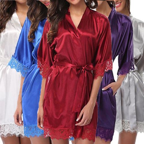 Women's Bathrobes Satin Robe Nightgown Sleepwear Pajamas Lingerie Night Mini Dress Lace Sexy Halt Sleeve