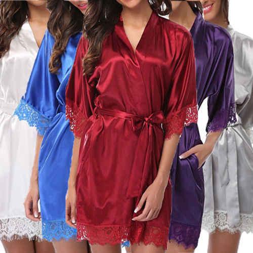 THEFOUND kobiety koszula nocna satynowy szlafrok szlafrok satynowa koszula nocna zatrzymania rękaw piżamy bielizna nocna Mini sukienka seksowna koronkowa bielizna nocna
