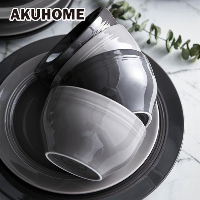 HANS Style Ceramic Dinner Light Grey Bowl China Bone Dark Grey Salad Bowl Porcelain Plate