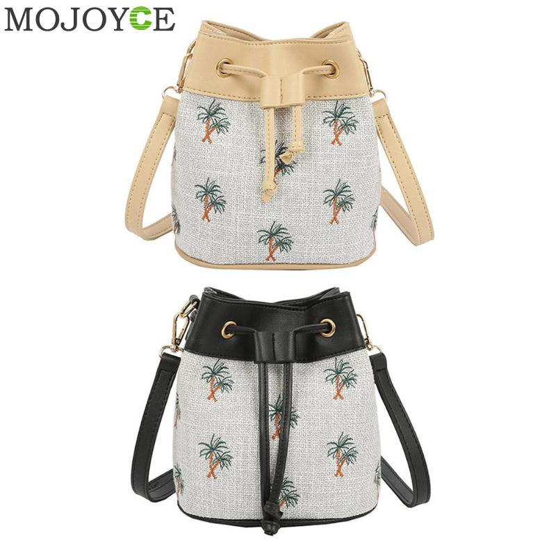 2018Bag Pu Leather Coconut Tree Print Bucket Messenger Bags Weave Handbag Shoulder Crossbody Bag
