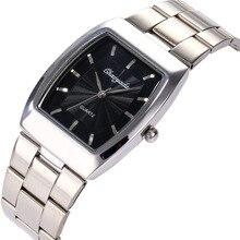 Наручные часы для влюбленных, классические, стальные, с квадратным корпусом, мужские, восстановленные в древнем стиле, кварцевые наручные часы на заказ