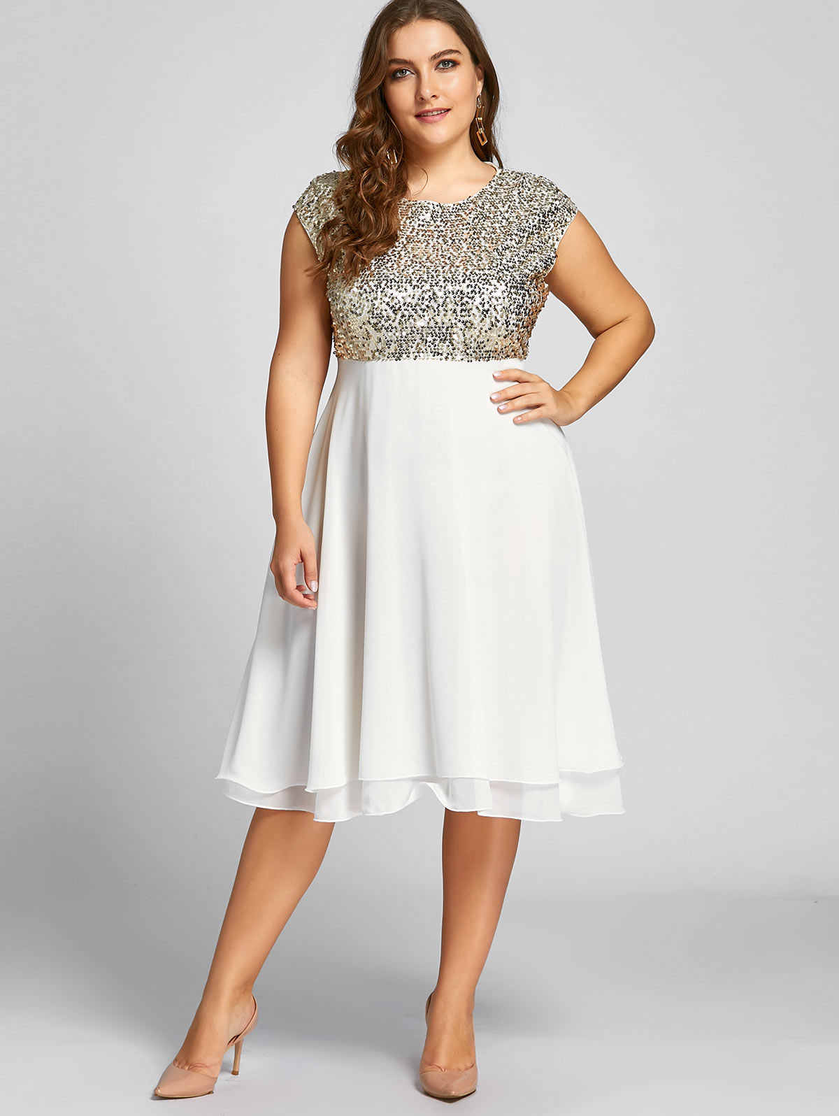 d9201e9b114ff Wipalo Plus Size 5XL Sequin Sparkly Dress Women Flounce Robe Female Short  Sleeves Party Dress Ball Gown Knee-Length Vestidos