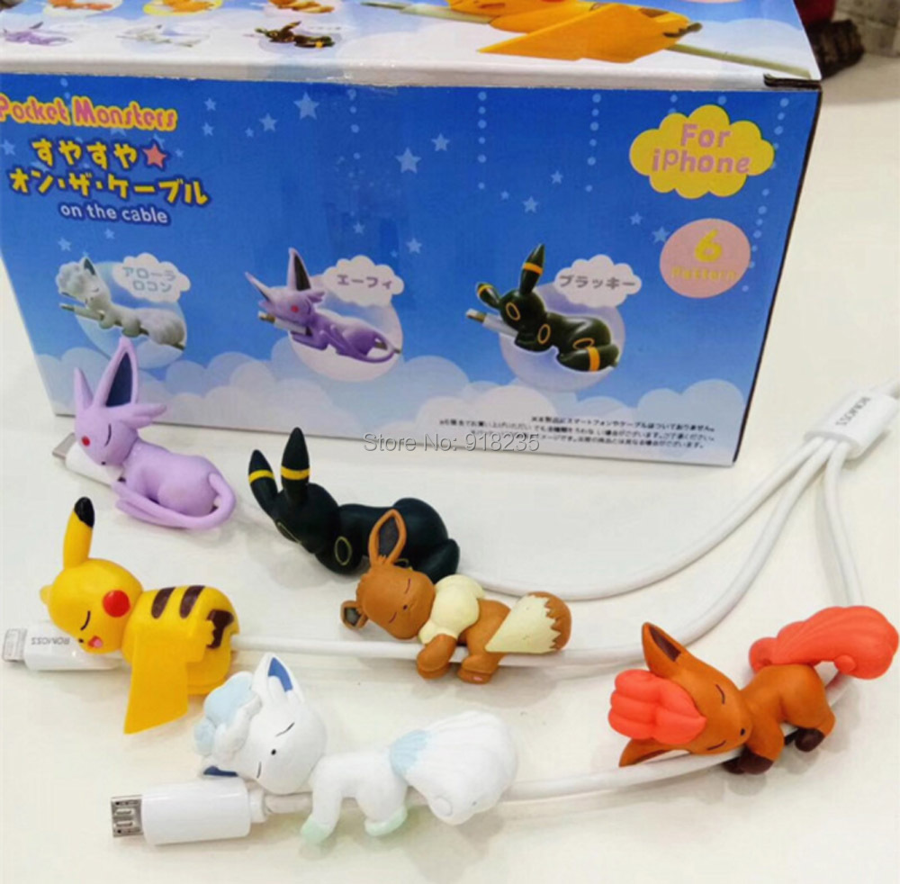 6PCS Pikchu Eevee Alola Vulpix Umbreon Espeon 5CM Figures Cable Protector For Android PVC Toys Retail