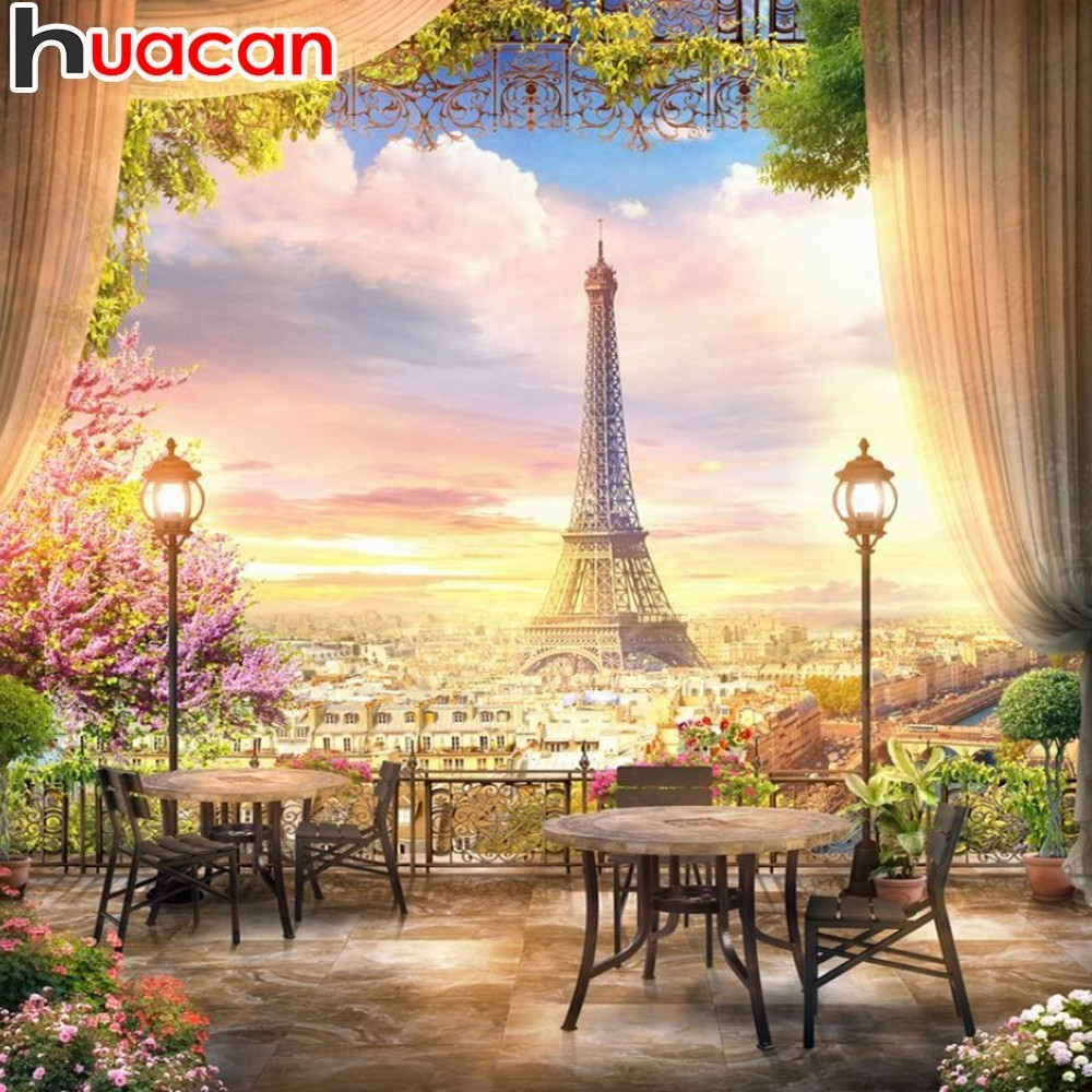 HUACAN Paint With Diamonds Eiffel Tower 5D Diamond Painting Landscape Picture Of Rhinestone Mosaic Flowers Decor HomeHUACAN Paint With Diamonds Eiffel Tower 5D Diamond Painting Landscape Picture Of Rhinestone Mosaic Flowers Decor Home