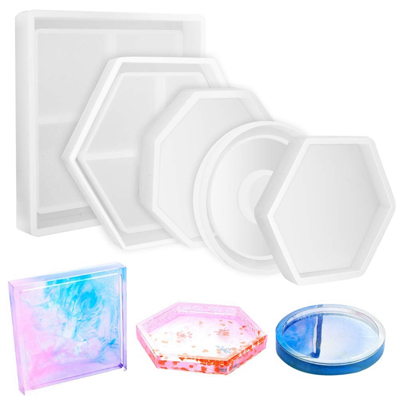 5Pcs Diy Coaster Silicone Mold Included Square Hexagon Circle Octagon Mold For Resin, Concrete, Cement, Home Decoration