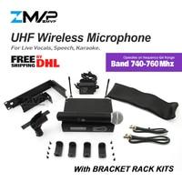 ZMVP M58 SLX24 UHF Profissional Microfone Sem Fio SLX Sem Fio Sistema De Karaoke Com 58 Handheld Transmissor Banda Q4 740-760 mhz