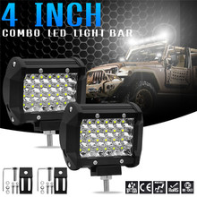 купить Hiyork LED Work Car Truck Tractor Boat Trailer Light Bar For Offroad SUV ATV 4WD PK 72W Spot Flood Dual Row Lamp Pod 4 7 15 Inch дешево