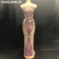 Новые пикантные Для женщин Sparkly Фиолетовый Стразы на сетчатой основе длинное платье для дня рождения вечерние танцевальные видеть сквозь П