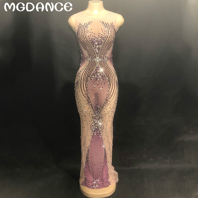 New Sexy Women Sparkly Purple Rhinestones Mesh Long Dress Birthday Party Dress Evening Dance See Through Prom Celebrate Dresses