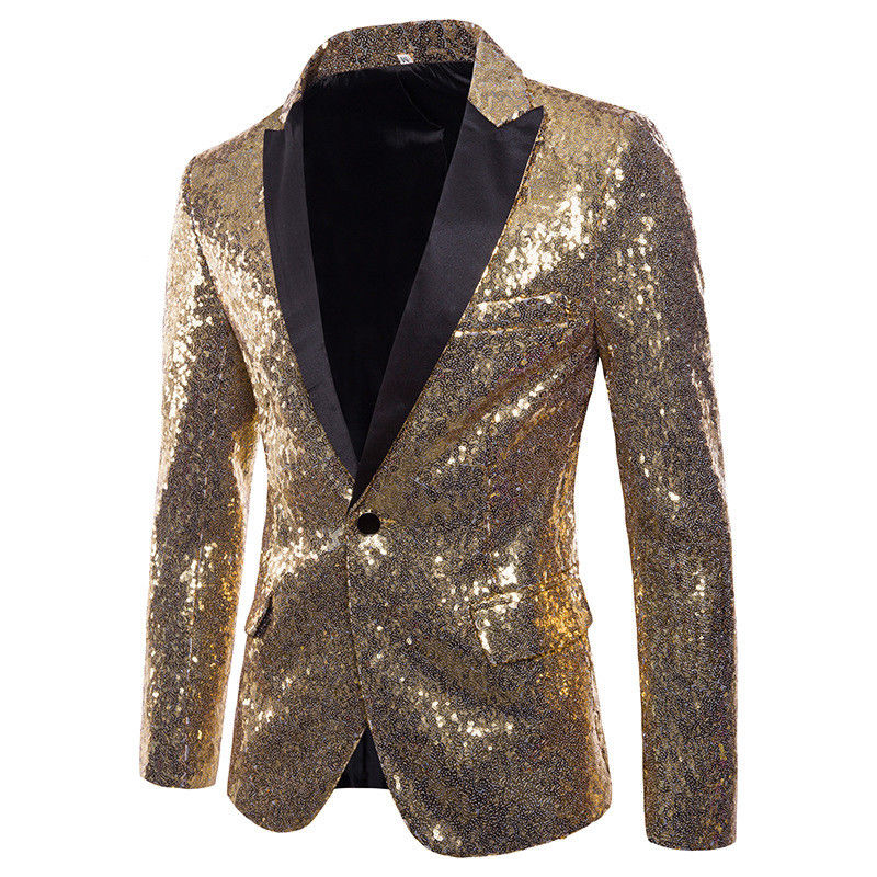 New Mens Stylish Gold Colorized Double-Color Sequins Bling Blazer Nightclub Bar Stage Singer Costume Wedding Groom Suit Jacket