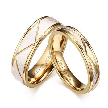 Wedding Rings for His and Her Matte Finish Stainless Steel Gold Color Women Men Personalized Engraving Name Cherish Gift china supplier his and hers gold color titanium wedding band finger rings women
