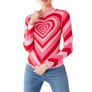 Image 3 - Harajuku Pink Sweet Heart Half Turtleneck Sweater Long Sleeve Love Knitting Women 2019 Pullovers