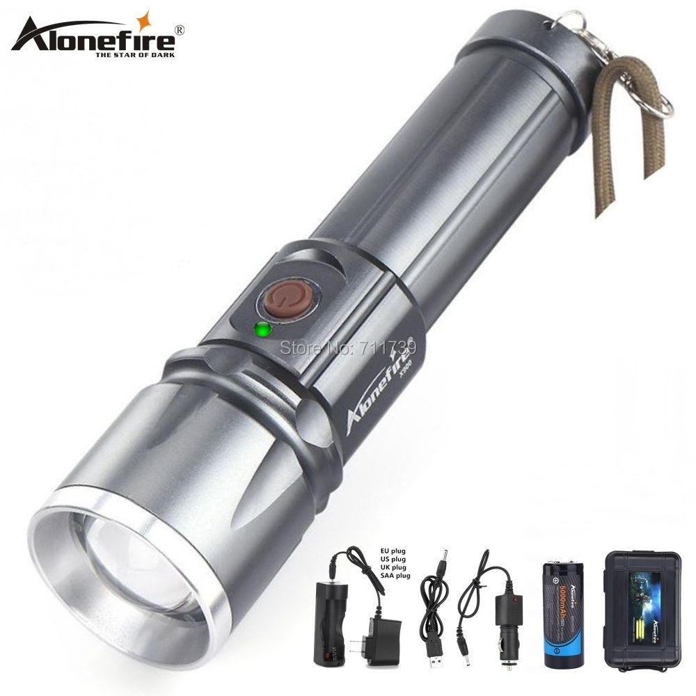 AloneFire X900 CREE XML T6 LED Zaklamp Aluminum flashlight Torch Zoom lanterna Waterproof lantern hike 26650 Battery USB charge