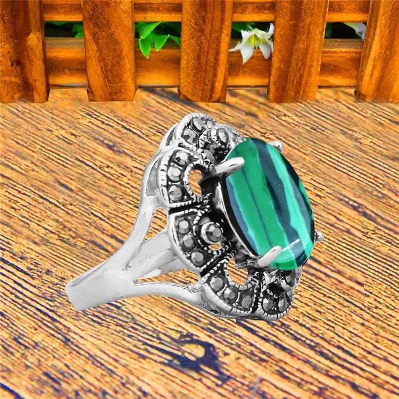 รูปไข่ Malachite แหวนโบราณ Silver Plated Rhinestone พลัมดอกไม้ Vintage แฟชั่นเครื่องประดับ TR751