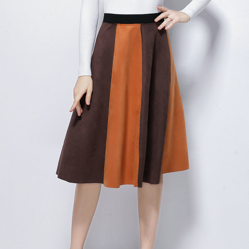 Peonfly Back Zipper Leather Suede Skirt Women Fashion Contrast Color A-line High Waist Female Elegant Big Pendulum Swing Skirts Women's Clothing Bottoms
