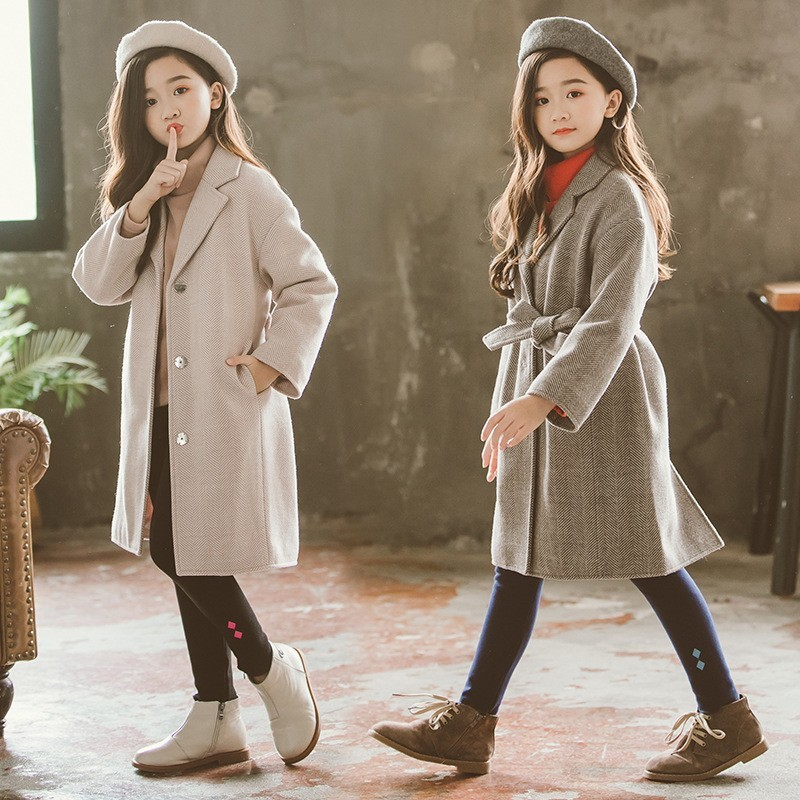 fashion 2018 belt toddler wool long coat for teenage girls outerwear tops clothes kids winter thick jackets for girls 10 years maxi wool coat with belt