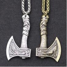 Wholesale Viking Handle Axe Pendant Necklace Crow Big Wolf Pattern Charm Men Power