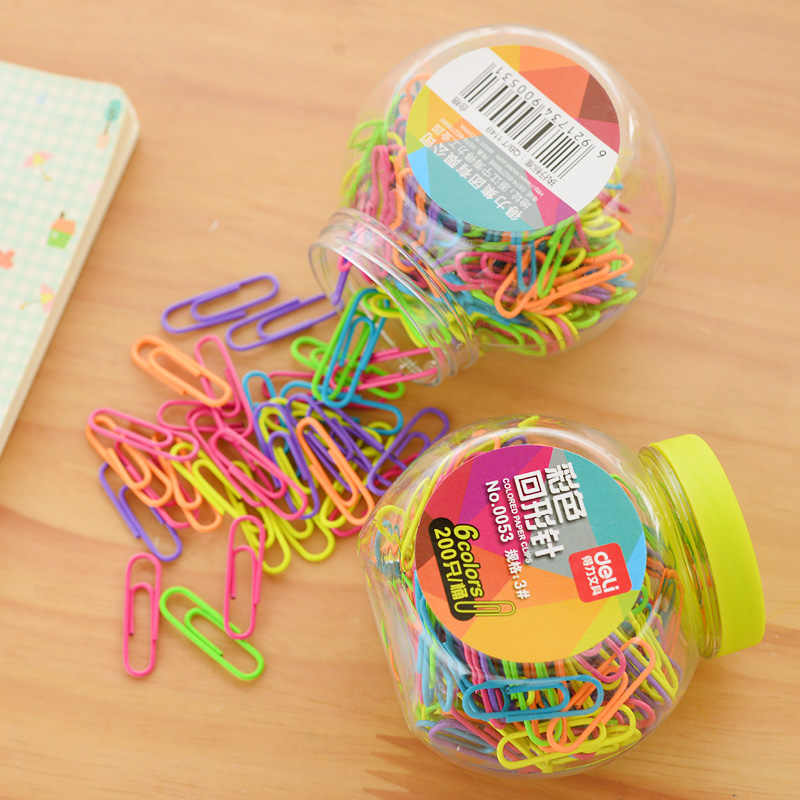 200pcs/barre 28mm cute canday colourful paperclips clamp office metal clip  paperclip office stationery accessories office clip