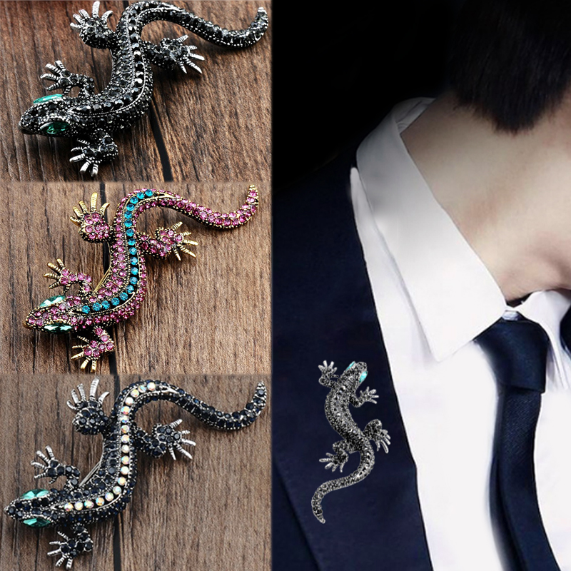 Sale Crystal Vintage Lizard Brooch For Men