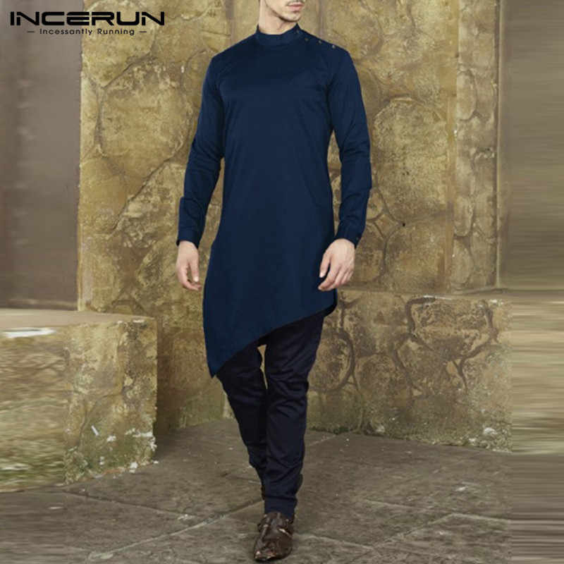 b23f234a40ea Brand Fashion Mens Shirts Long Sleeve Chic Male Dress Loose Shirts Button  Kaftan Kurta Muslim Clothing