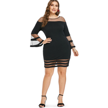 Casual Black Plus Size Flare Sleeve Dress for Women