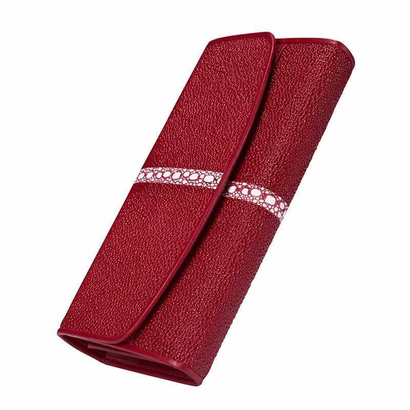 Yeni Kadın Cüzdan Hakiki deri cüzdan Stingray Cilt Üç katlı Çanta iş telefon çantası kart tutucu Kadın Cüzdan Uzun el çantası