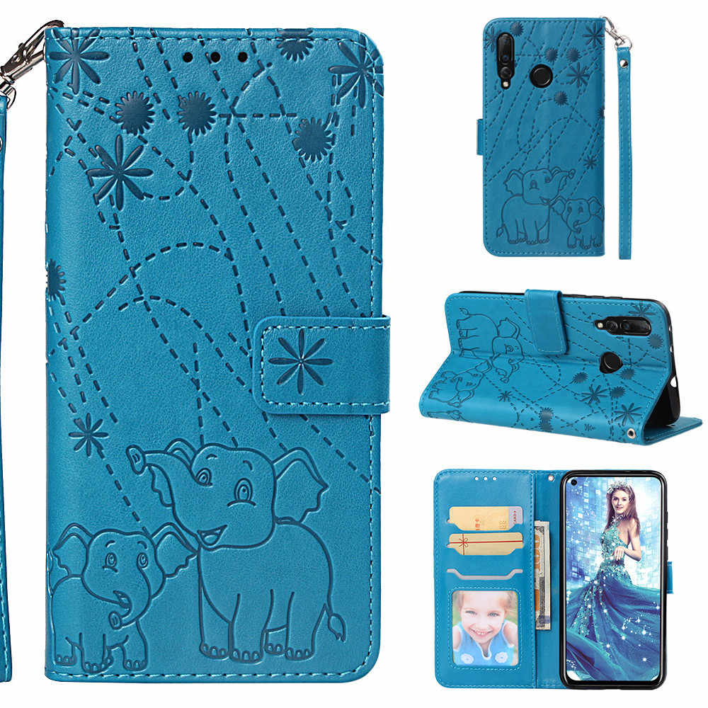 Flip Leather Book Case for Huawei Honor 10 Lite P Smart 2019 Nova 4 P30 Mate 20 Pro Lite P8 P10 Lite Fireworks Elephant Embossed