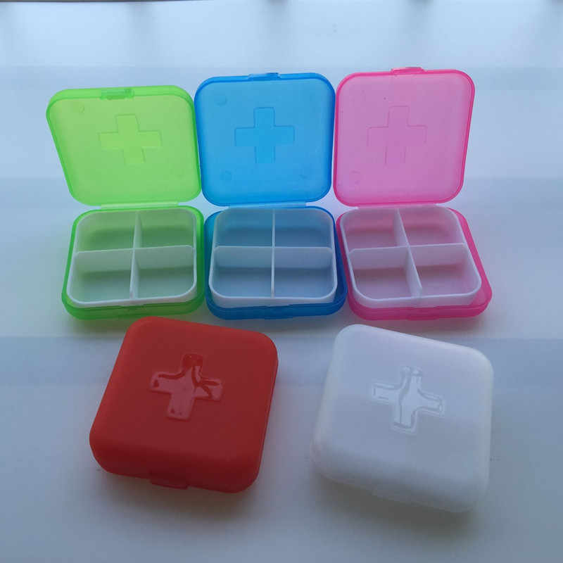1 pc Xách Tay 4 Lưới Pill Box Thuốc Tablet Y Lưu Trữ Chủ Splitter Trường Hợp Lưu Trữ Organizer Container Trường Hợp DX